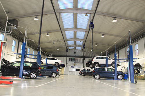 LED High Bay Light in Volkswagen Workshop, Spain